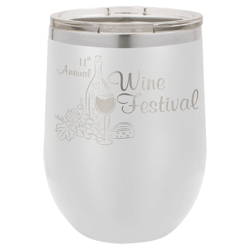 Wine Tumblers Assorted Colors 12 oz - Vacuum Insulated - with Lid