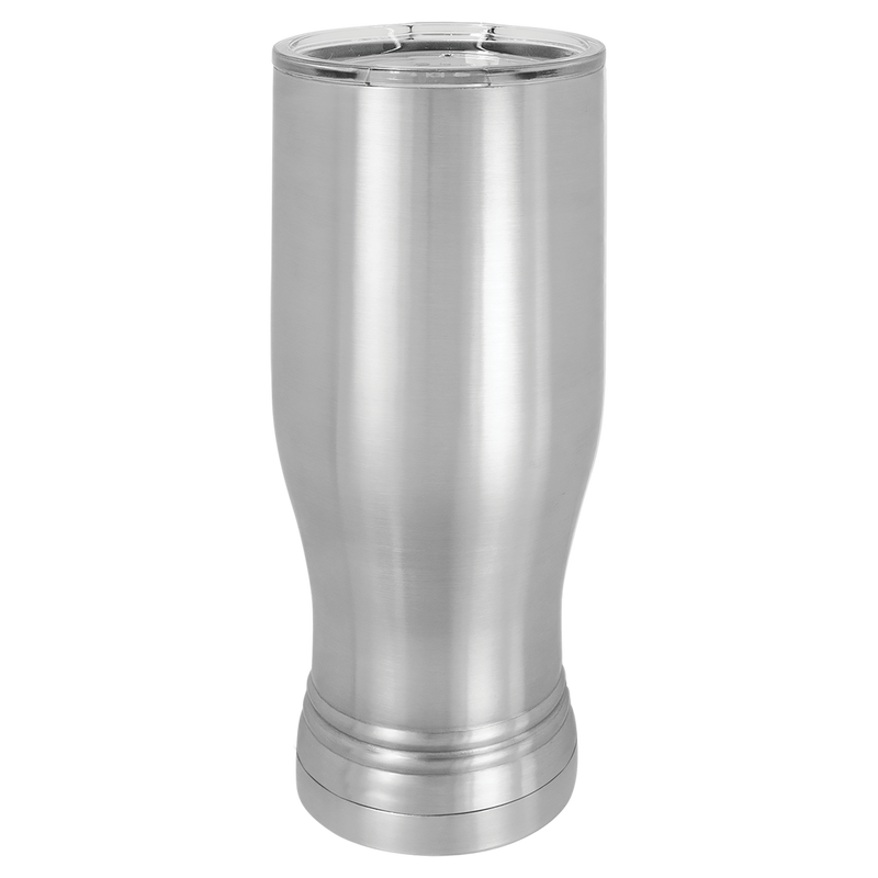 Pilsner 20 oz Tumbler Stainless Steel w/Clear Lid