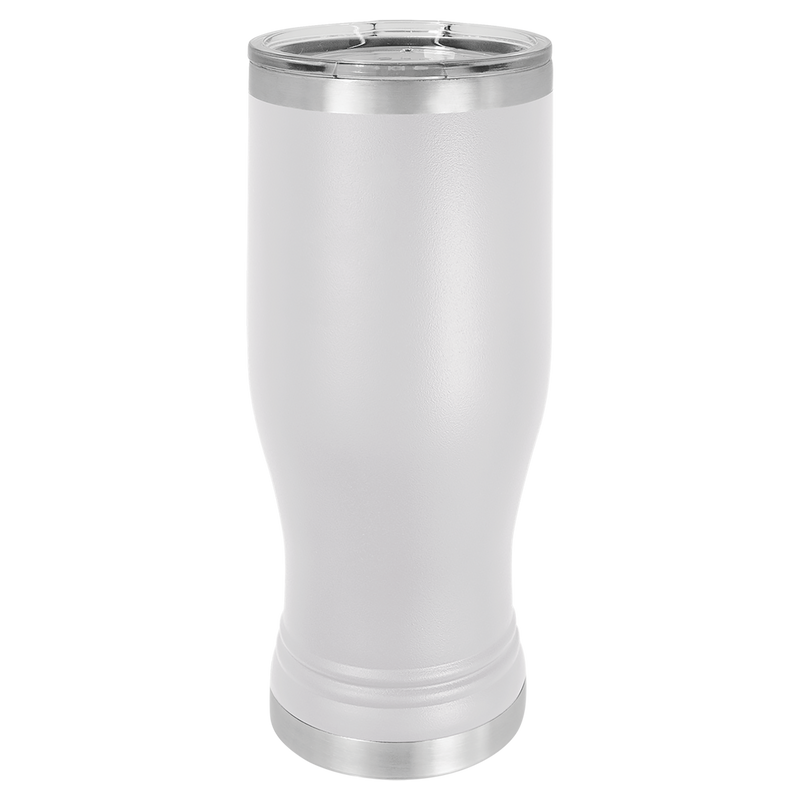 Pilsner 20 oz Tumbler White w/Clear Lid