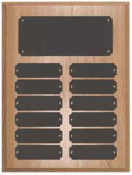 12 Plate Oak Finish Completed Perpetual Plaque