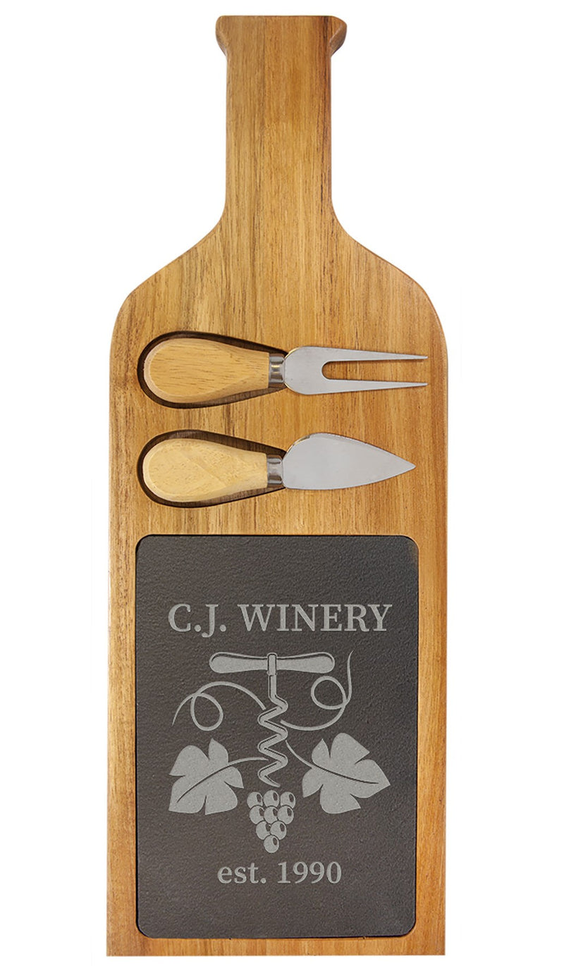 "Serving Board with Tools, 17 1/2"" x 6"", Acacia Wood/Slate"