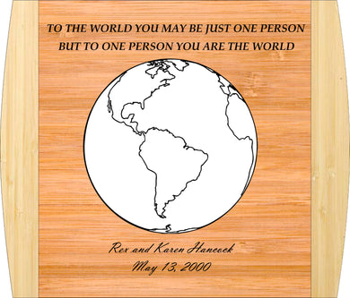 Bamboo Cutting Board-The World-13.5