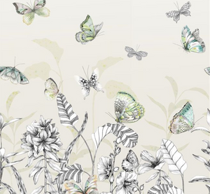 Papillons Eau De Nil Wallpaper Swatch