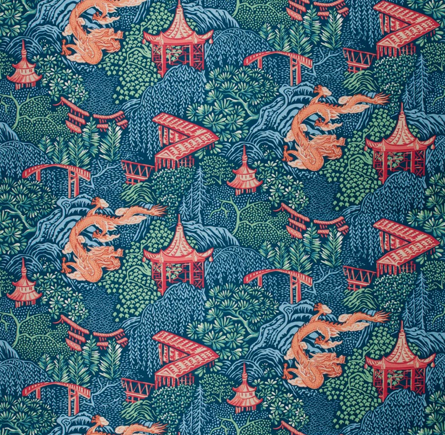 Tranquil Garden Chinoiserie Fabric