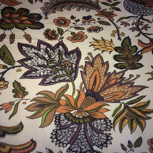 Black /Orange Jacobean floral /1 Yard Piece