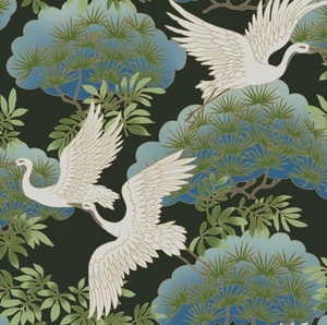 Sprig and Heron Wallpaper