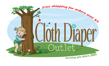 Cloth Diaper Outlet logo - little girl in cloth diaper hugging a tree
