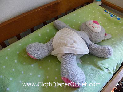 The Cloth Diaper twist should be right between your baby's legs