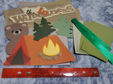 IN THE WILDERNESS DIE CUT LOT WITH PHOTO MATTS AND RIBBON