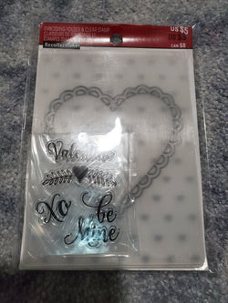 VALENTINE - RECOLLECTIONS STAMP & 2 EMBOSSING FOLDER SET