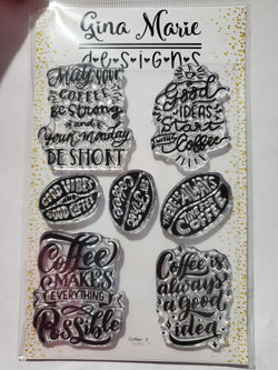 FUN COFFEE SENTIMENTS STAMPS - Gina Marie Designs