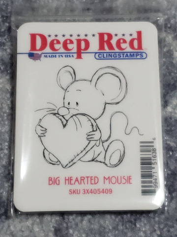 BIG HEARTED MOUSE  DEEP RED RUBBER STAMPS