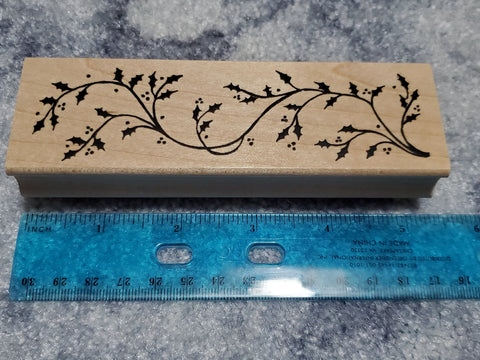 HOLLY BRANCH FLOURISH RUBBER WOOD MOUNTED STAMP - GREAT IMPRESSIONS