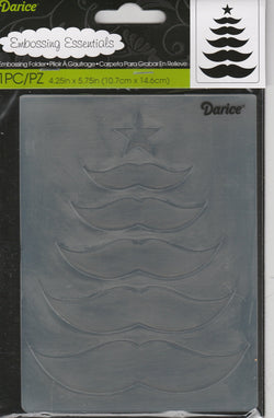 CHRISTMAS TREE MUSTACHE - DARICE EMBOSSING FOLDER