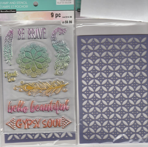 BE BRAVE - RECOLLECTIONS CLEAR STAMP & STENCIL SET