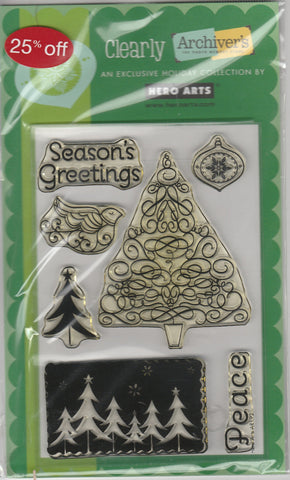 SEASONS GREETINGS TREE - HERO ARTS CLEAR STAMPS