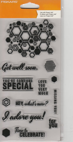 HEXAGON SENTIMENTS - FISKARS CLEAR STAMPS