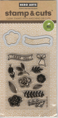 FLOWER & BANNER - Hero Arts Stamp and Cut Die set