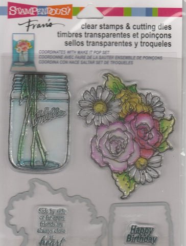 FLOWER & JAR SET - STAMPENDOUS STAMP & DIE SET
