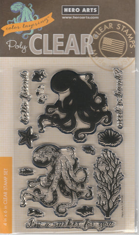 COLOR LAYERING OCTOPUS - HERO ARTS CLEAR STAMPS