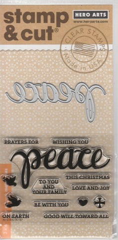 PEACE - Stamp and Cut HERO ARTS Clear Stamps and Dies