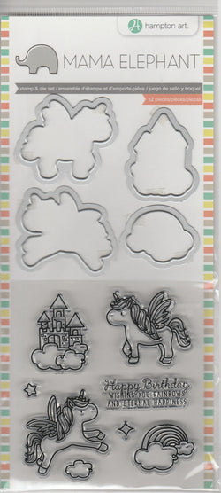 UNICORNS - MAMA ELEPHANT STAMPS AND DIES