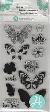 HELLO & LAYERING BUTTERFLIES - HAMPTON ARTS CLEAR STAMPS