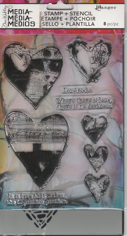 LOVE ROCKS - DYLUSIONS STAMP & STENCIL SET