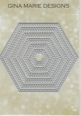 Limited Edition - DOUBLE STITCHED IN AND OUT CUT HEXAGON DIE SET - Gina Marie Designs