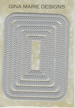 Limited Edition - DOUBLE STITCHED IN AND OUT CUT ROUND RECTANGLE DIE SET - Gina Marie Designs
