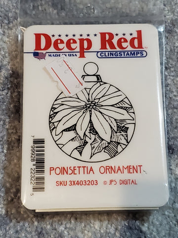 POINSETTIA ORNAMENT - DEEP RED RUBBER STAMPS