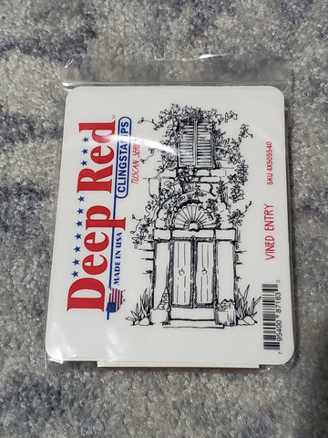 VINED ENTRY - DEEP RED RUBBER STAMPS