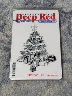 CHRISTMAS TREE - DEEP RED RUBBER STAMPS