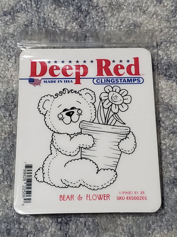 BEAR & FLOWER - DEEP RED RUBBER STAMPS