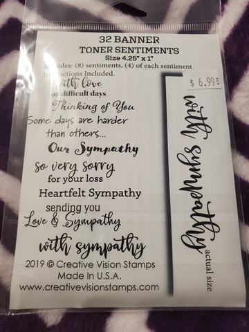 WITH SYMPATHY 32 BANNER TONER SENTIMENTS FOILABLES - CREATIVE VISION