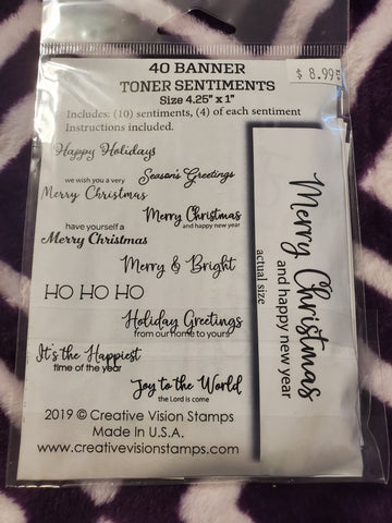 MERRY CHRISTMAS 40 BANNER TONER SENTIMENTS FOILABLES - CREATIVE VISION