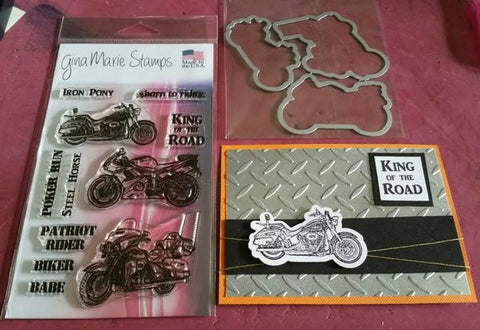 Motorcycle STAMP & DIE Combo Set - Gina Marie Designs