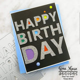 HAPPY BIRTHDAY A2 PLATE DIE - GINA MARIE DESIGNS