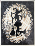 (Back from retirement) WITCH WITH CAT DIE - GINA MARIE DESIGNS