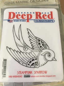 STEAMPUNK SPARROW - DEEP RED RUBBER STAMPS