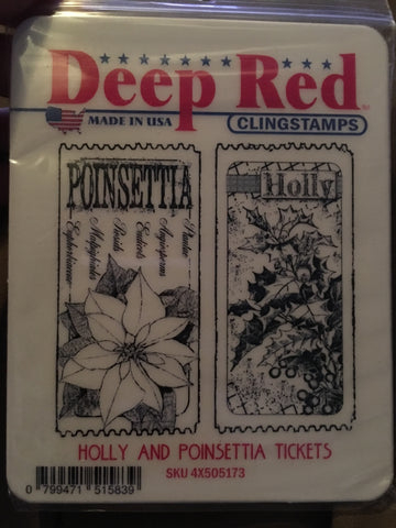 HOLLY AND POINSETTIA TICKETS DEEP RED RUBBER STAMPS