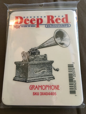 GRAMOPHONE DEEP RED RUBBER STAMPS