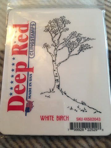 WHITE BIRCH - DEEP RED RUBBER STAMPS
