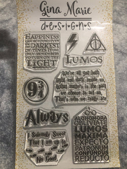 WIZARD POTTER THEMED STAMP SET - Gina Marie Designs