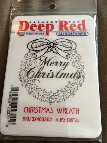 CHRISTMAS WREATH - DEEP RED RUBBER STAMPS