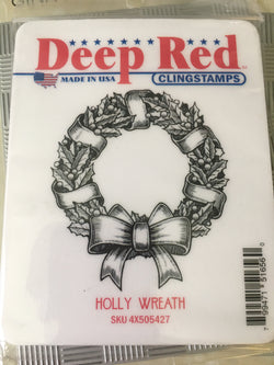HOLLY WREATH - DEEP RED RUBBER STAMPS
