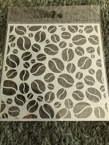 COFFEE BEAN BACKGROUND 6x6 STENCIL - Gina Marie Designs