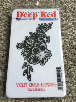 VIOLET CHALK FLOWERS - DEEP RED RUBBER STAMPS