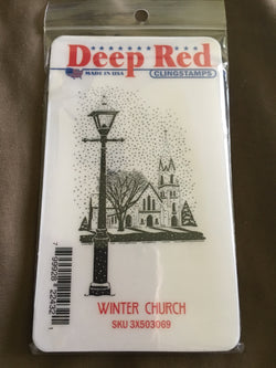 WINTER CHURCH DEEP RED RUBBER STAMPS