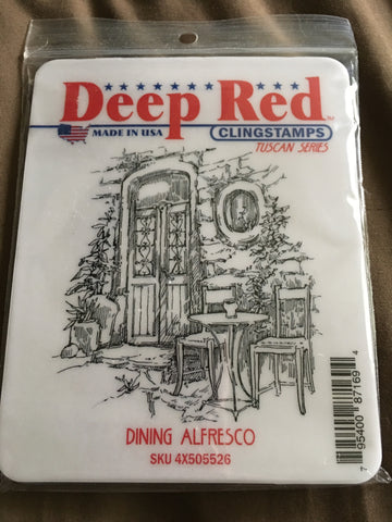 DINING ALFRESCO DEEP RED RUBBER STAMPS
